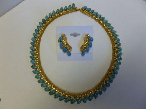 Vintage Signed Hobe Gold Tone Mesh Faux Turquoise Rhinestone Necklace & Earrings