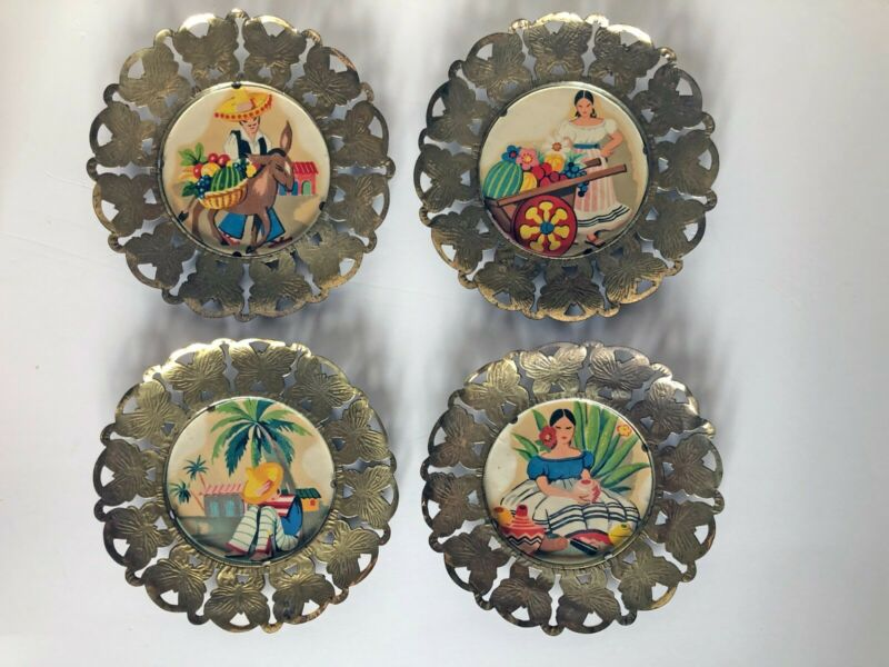Vintage Set of 4 Brass Coasters, Wall Hangings, Mexican Scenes, Made in England