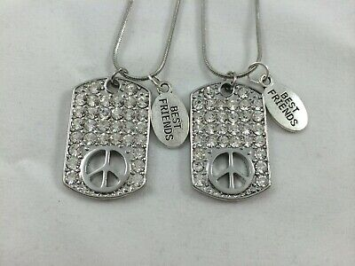 BFF BEST FRIEND Rhinestone Peace Sign Dogtag 2 Pendant 2 Necklace Friendship