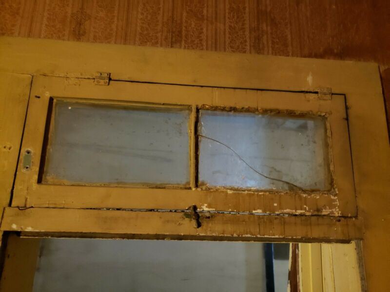 "1 ANTIQUE VTG 30"" X 12"" OVER-THE-DOOR TRANSOM WINDOW W ORIGINAL GLASS  AS IS"