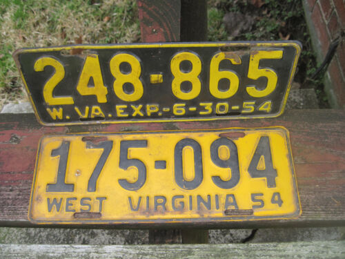 2 VINTAGE West Virginia License Plates 1954 & 1955  ANTIQUE # 248-865 & 175-049