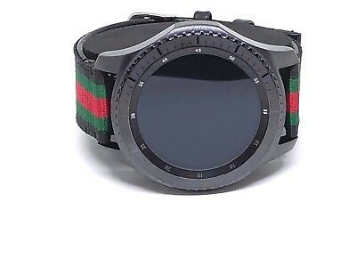 Gear S3 Frontier/Classic Leather Band Samsung 22mm Gucci Pattern Band - Black
