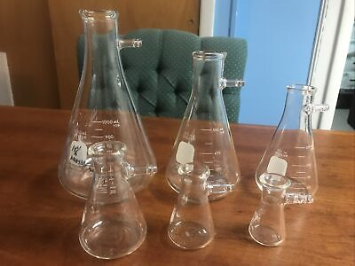 Lot Of 6 Pyrex 25 To 1000 Ml Erlenmeyer Filter Flasks Side Arm Used By Bmy