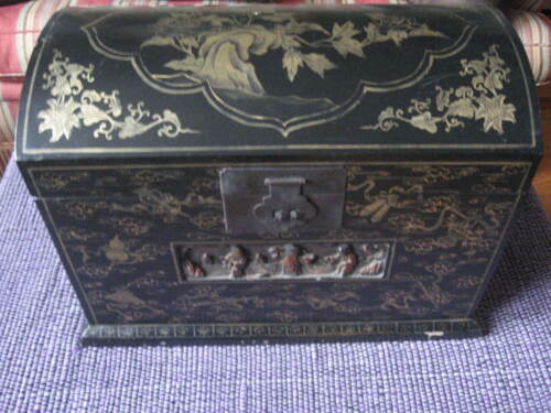 Antique China Chinese Carved Wood Black Lacquer Box Dome Top Storage Chest Trunk