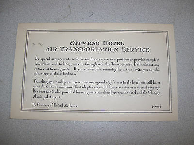 1932 Stevens Hotel Air Trans Service Guest Reservation Card By United Airlines