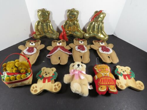 12 Teddy Bear Christmas Ornaments Lot Metal Plush Wood Handcrafted Painted A9884