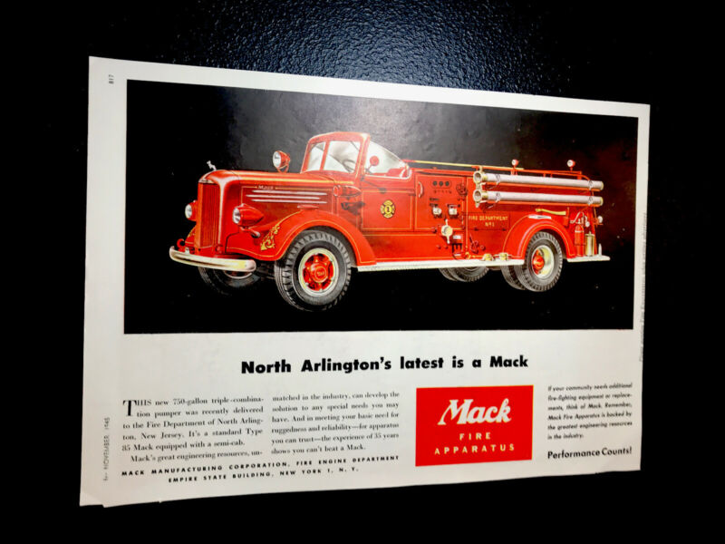🔥 1945 Mack Fire Truck Color Advertising Ad - Emergency Rescue 🔥