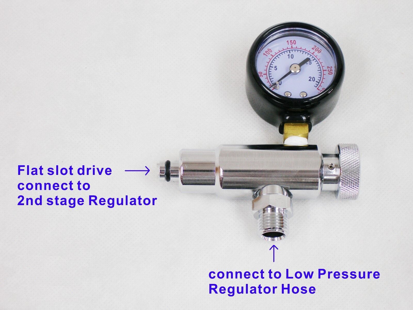 как выглядит Регулятор для дайвинга OTG Scuba Diving Inline 2nd Stage Regulator Adjustment Tool with Gauge #OG-148 фото