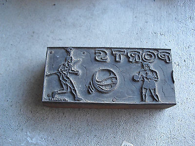 Unusual Vintage Wood Metal Letterpress Printer Block Sports With Boxer Runner