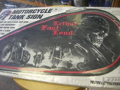 Motorcycle gasTank Metal Sign LEATHAL fast loud SKULL BIKERS MAN CAVE GARAGE