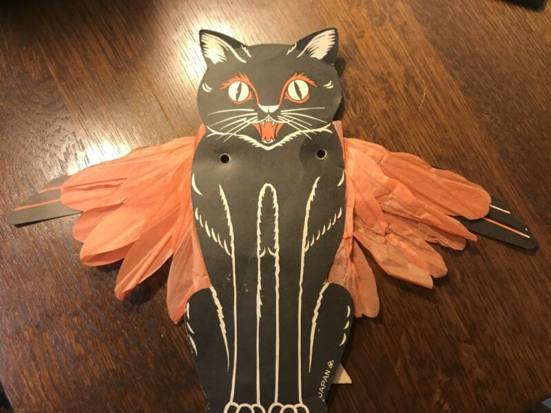 Vintage Halloween Cat Decoration With Wings Japan Rare!