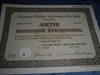 681 : histor. Wertpapier / Dt. Aktie , Clemens Müller AG , Dresden  Februar 1941