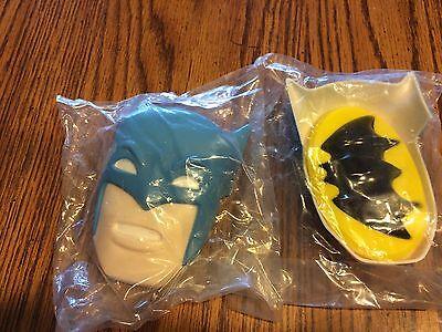 1J DC Comics 1977 Wilton SUPERMAN BATMAN Plastic Cake Decorations TOPPERS!