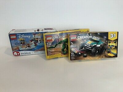 Lot of 3 Lego Sets Unopened 2 Creator Dinosaur Monster Truck and 1 Disney Frozen