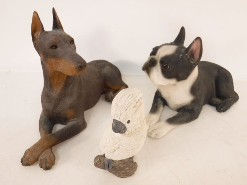 3 VTG Sandicast Statue Figurines Collectibles Boston Terrier Doberman Cockatoo