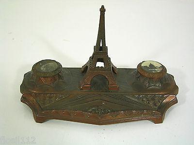Schönes altes Schreibtischaccessoir,Garnitur, Eifelturm Paris, Metallguß,Top,