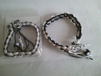 Newcastle United football bracelet made of waxed cotton in club colours & beads.