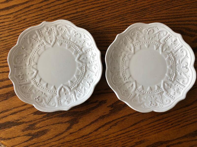 Maison Versailles BLANC Appetizer Plate White Farmhouse Set of 2 AS IS