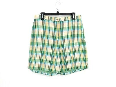 Orvis Womens Shorts (Orvis Womens High Rise Casual Chino Shorts Above Knee Size 10 Green Yellow Plaid)