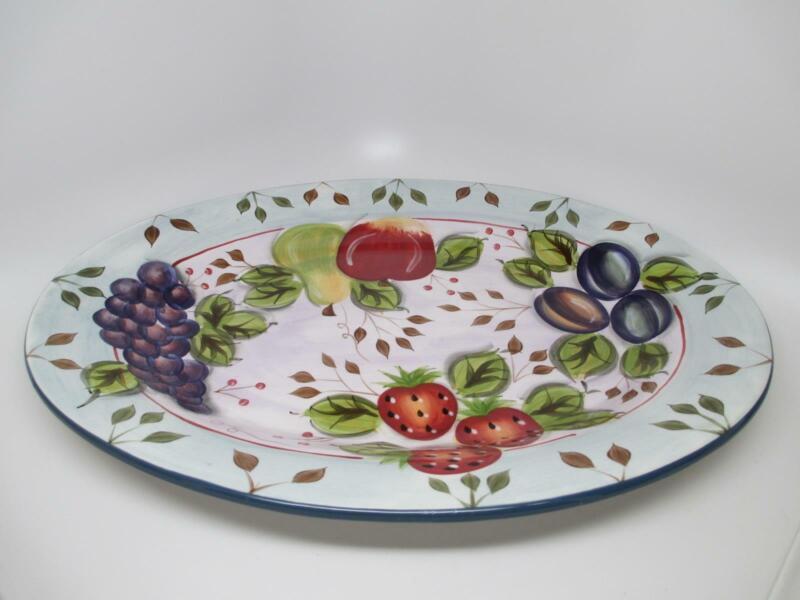 "Black Forest Fruits 18-1/2"" Oval Ceramic Strawberry Apple Plum Grapes PLATTER"