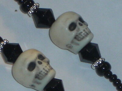 "Handmade Eyeglass Chain~Halloween Skulls Black ~ 28"" NEW~Buy 3 SHIP FREE"