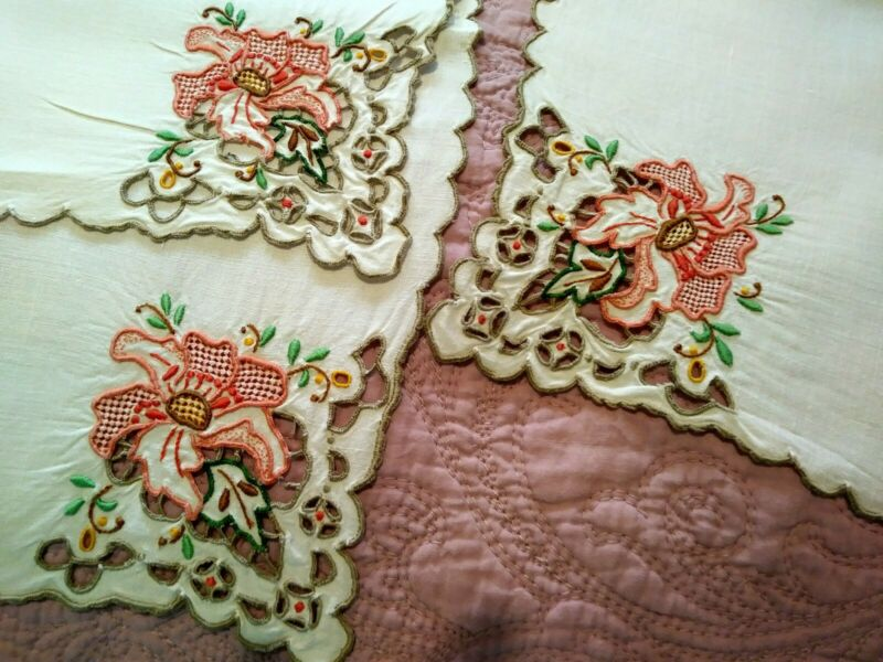 Rare Set of 12 Amazing Madeira Colorful Floral Embroidered Linen Napkins 16 1/2""