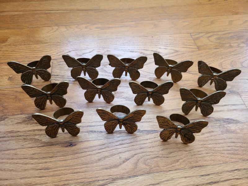 Vintage Brass Butterfly Napkin Holders Set of 12