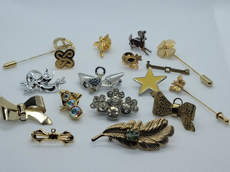 LOT of 14 Vintage Pins / Brooches ~ Gold, Silver, Enamel, Rhinestones & More!