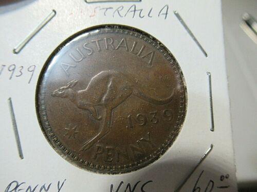 1939 Australia UNC Penny Coin, King George VI