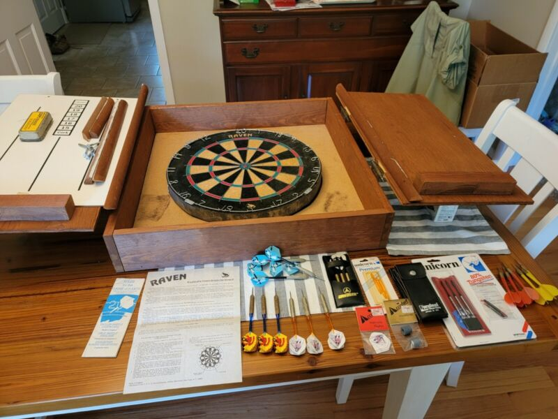 Raven Dart Board with Cabinet and Accessories
