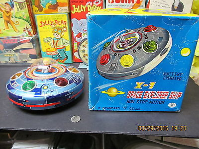 X-7 SPACE EXPLORER SHIP BATTERY OPERATED IN BOX 60'S TIN LITHO WORKING JAPAN