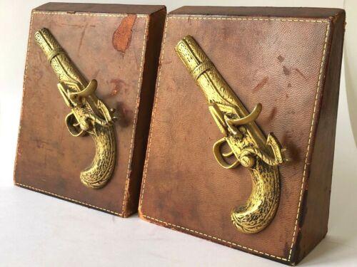 Vintage Leather Book Ends Pistol Guns Pair Book Ends Rustic Western Gun Lover 3D