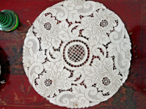 ANT FRENCH LINEN CHARGER PLACE MATS - ELABORATE HEAVY RELIEF EMBROID, CUTWORK 6