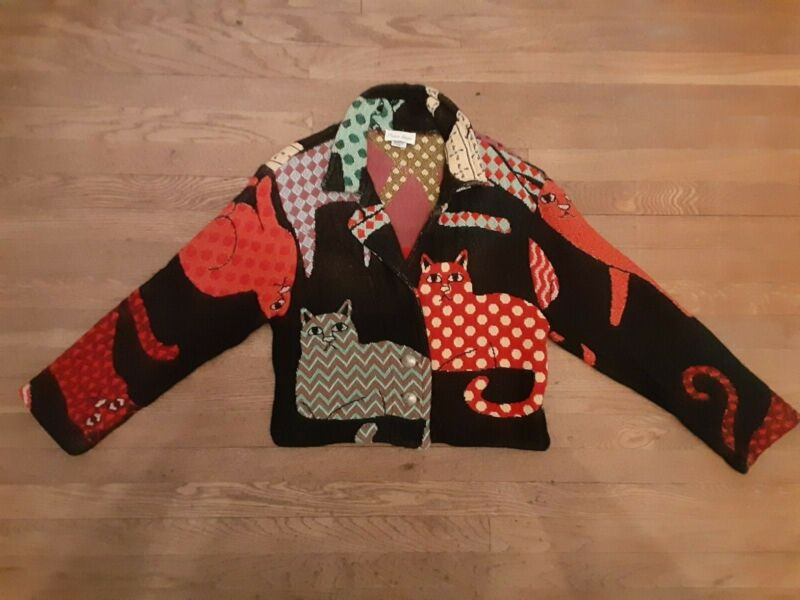 Vintage Paco Soler Kitty Cats Jacket Pre Shrunk Cotton sz S/M Made in USA