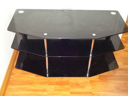Glass and chrome television stand three levels