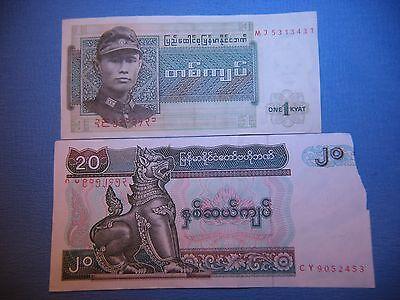 BURMA / MYANMAR  1 &  20 KYATS