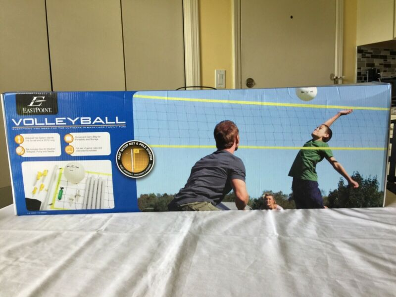 Eastpoint Backyard Volleyball Complete & Fast Setup Net & Pole System NEW