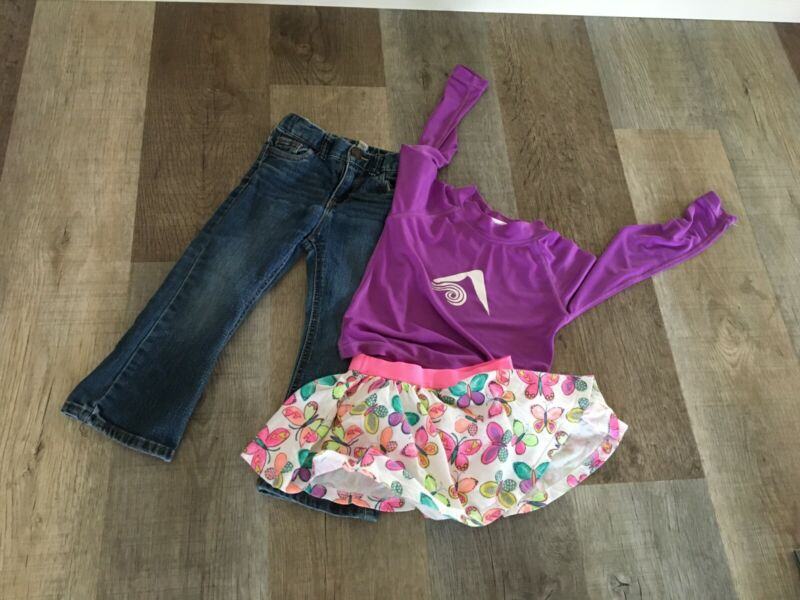 Lot Of Girls Clothing Swim Top, Jeans, And Skirt In A Size 24 Mos.-3t