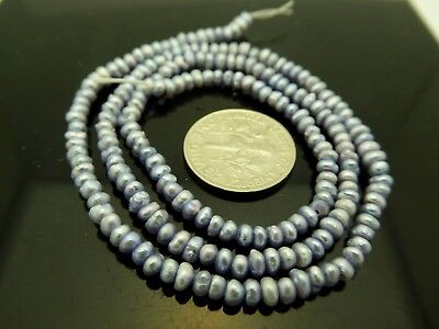 Freshwater Pearls Pale Periwinkle Blue Tiny Smooth Rondelle Gemstone Beads Std.