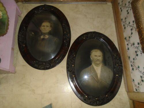2 Antique Oval Wood Frame Convex Bubble Glass Vintage Pictures MAN & WOMAN