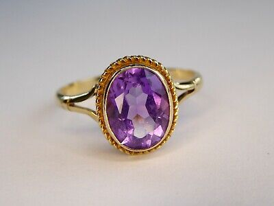 Vintage 9ct Yellow Gold Oval Purple Amethyst Solitaire Ring Size N 1/2