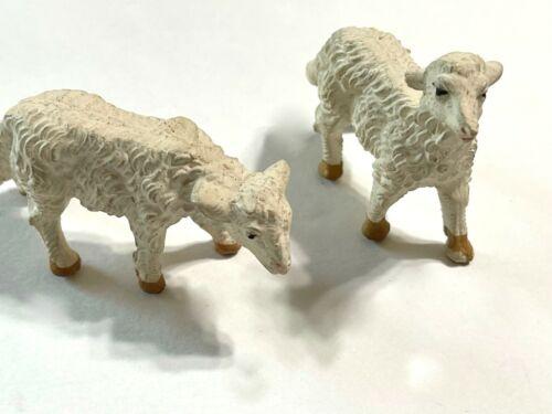 "2 Vintage Fontanini Paper Mache Nativity Sheep 2"" x 1 3/4"""