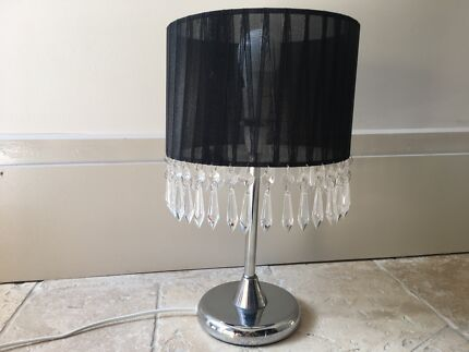 Black bedside table lamp with crystals