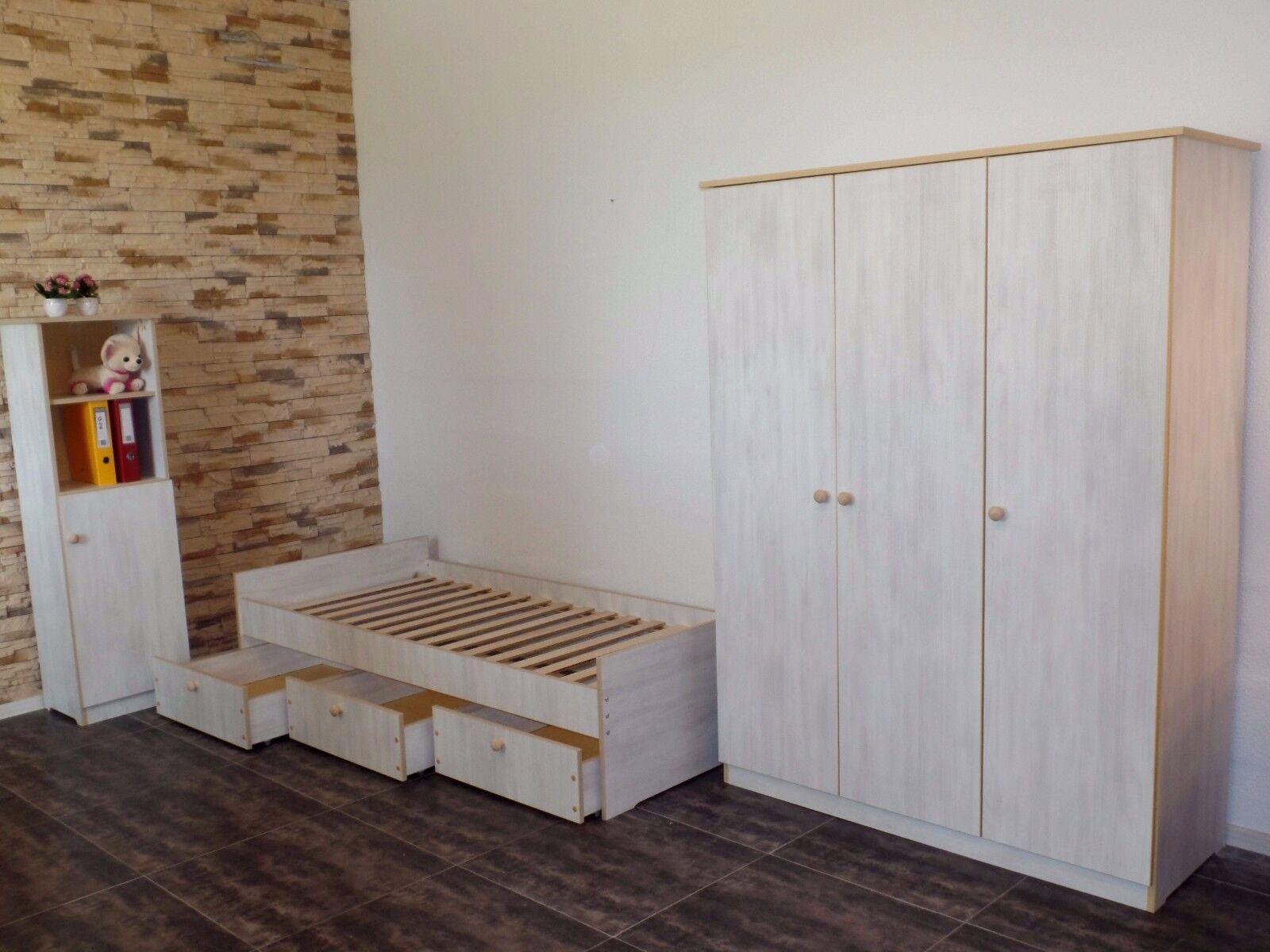kinderbett jugendbett 100x200 kojenbett funktionsbett einzelbett wei grau eur 115 90. Black Bedroom Furniture Sets. Home Design Ideas