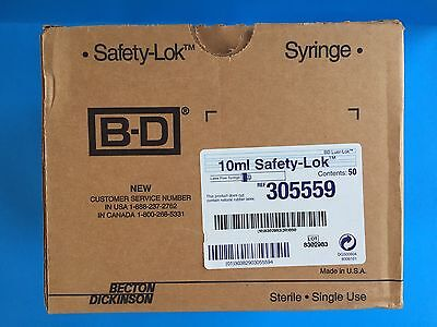 Bd 10ml Safety-lok Luer-lok Latex Free Syringe 50pcbox --305559-- New In Box