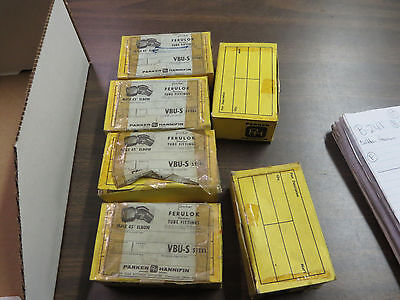 Wholesale Lot Of 60 4 Vbu-s Parker 40 Degree Male Elbows 6 Boxes Of 10 Each