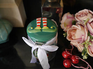 Shabby Chic Christmas Elf Decorated Ceramic Lid Flip Top Glass Storage Jars