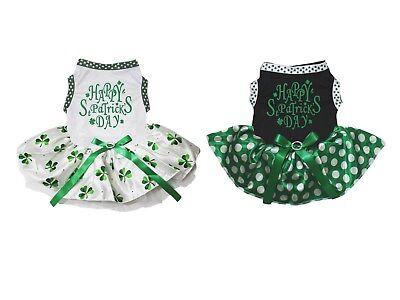 Happy St Patrick's Day White Cotton Top Clover Tutu Pet Dog Puppy Dress](Dog St Patrick's Day Clothes)