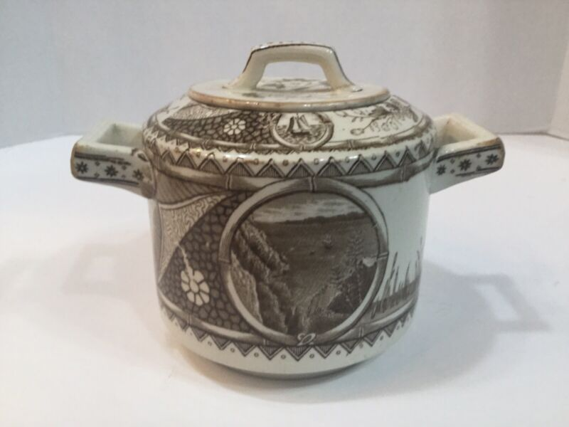 "Aesthetic Movement G.W. Turner & Sons Transferware ""Phileau"" Large Covered Sugar"