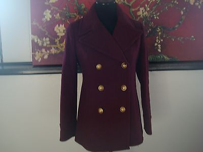 NWT J. Crew  majesty peacoat in stadium cloth item F4923  HTHR Fire Red 2 for sale  Melbourne